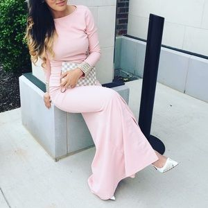 Long sleeve pink prom dress